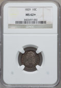 Bust Dimes, 1829 10C Small 10C MS62+ NGC. JR-3, R.4....