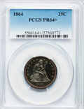 Proof Seated Quarters, 1864 25C PR64+ PCGS....