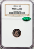 Proof Seated Half Dimes, 1868 H10C PR64 Cameo NGC. CAC....