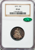 Proof Seated Quarters, 1872 25C PR63 NGC. CAC....