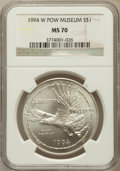Modern Issues: , 1994-W $1 P.O.W. Silver Dollar MS70 NGC. NGC Census: (618). PCGSPopulation (401). Mintage: 54,790. Numismedia Wsl. Price f...