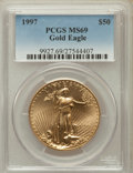 Modern Bullion Coins: , 1997 G$50 One-Ounce Gold Eagle MS69 PCGS. PCGS Population (990/18).NGC Census: (821/65). Mintage: 664,508. Numismedia Wsl....