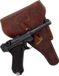 Handguns:Semiautomatic Pistol, Portuguese Model P08 1942 byf Code Luger Semi-Automatic Pistol with Holster.. ...
