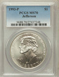 Modern Issues: , 1993-P $1 Jefferson Silver Dollar MS70 PCGS. PCGS Population (316).NGC Census: (605). Mintage: 266,927. Numismedia Wsl. Pr...