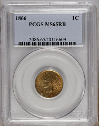 1866 1C MS65 Red and Brown PCGS. PCGS Population (44/1). NGC Census: (100/21). Mintage: 9,826,500. Numismedia Wsl. Price...