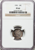 Proof Barber Dimes: , 1901 10C PR62 NGC. NGC Census: (14/185). PCGS Population (28/160).Mintage: 813. Numismedia Wsl. Price for problem free NGC...