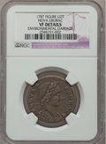 Colonials: , 1787 COPPER Nova Eborac Copper, Seated Left -- Environmental Damage-- NGC Details. VF. NGC Census: (1/16). PCGS Population...