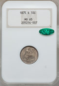 Seated Dimes, 1875-S 10C Mintmark Below Bow MS65 NGC. CAC....