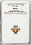 California Fractional Gold, 1859 50C Liberty Octagonal 50 Cents, BG-901, High R.6, MS64Prooflike NGC....