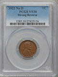 Lincoln Cents, 1922 No D 1C Strong Reverse VF30 PCGS. FS-401....