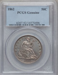 Seated Half Dollars, 1862 50C PCGS Genuine. The PCGS number ending in .92 suggestscleaning as the reason, or perhaps one of the reasons, that P...