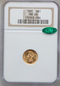 Gold Dollars, 1885 G$1 MS66 NGC. CAC....