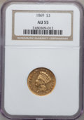 Three Dollar Gold Pieces, 1869 $3 AU55 NGC....