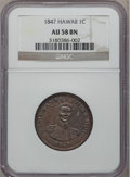 Coins of Hawaii, 1847 1C Hawaii Cent AU58 NGC. M. 2CC-2....