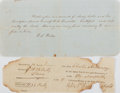 "Books:Americana & American History, [Slavery] Two Slave Documents including: 1) Tax receipt for slavesfrom the State of Virginia, dated June 12, 1816, 7.5""..."