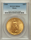 Saint-Gaudens Double Eagles: , 1908 $20 Motto MS64 PCGS. PCGS Population (522/77). NGC Census:(251/26). Mintage: 156,200. Numismedia Wsl. Price for probl...