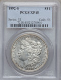 Morgan Dollars: , 1892-S $1 XF45 PCGS. PCGS Population (960/946). NGC Census:(929/1041). Mintage: 1,200,000. Numismedia Wsl. Price for probl...