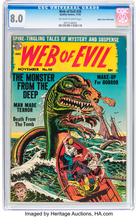 Web of Evil #20 Mile High pedigree (Quality, 1954) CGC VF 8.0 Off-white to white pages....