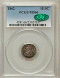 Seated Half Dimes, 1862 H10C MS66 PCGS. CAC....