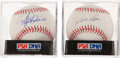 Autographs:Baseballs, Rafael Palmeiro and Jim Rice PSA Graded Single Signed BaseballsPair (2) - Both NM-MT+ 8.5....