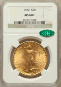 Saint-Gaudens Double Eagles, 1922 $20 MS64+ NGC. CAC....