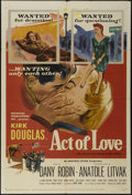 """Movie Posters:Drama, Act of Love (United Artists, 1954). One Sheet (27"""" X 41""""). Drama. Directed by Anatole Litvak. Starring Kirk Douglas, Dany Ro..."""