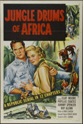 "Movie Posters:Adventure, Jungle Drums of Africa (Republic, 1953). One Sheet (27"" X 41"")Tri-folded. Adventure. Directed by Fred C. Brannon. Starring ..."