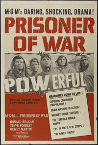 """Prisoner of War (MGM, 1954). One Sheet (27"""" X 41""""). War Drama. Directed by Andrew Marton. Starring Ronald Reag..."""