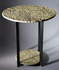 """Lapidary Art:Tables / Tabletops, """"PETRIFIED BEACH SAND"""" TWO-TIER ROUND OCCASIONAL TABLE . Hartshorne Sandstone, Pennsylvanian Age, Haskell County, Oklahoma..."""