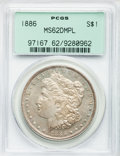 Morgan Dollars: , 1886 $1 MS62 Deep Mirror Prooflike PCGS. PCGS Population (79/659).NGC Census: (37/513). Numismedia Wsl. Price for problem...