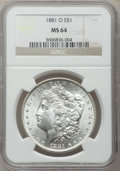 Morgan Dollars: , 1881-O $1 MS64 NGC. NGC Census: (3947/492). PCGS Population(3365/567). Mintage: 5,708,000. Numismedia Wsl. Price for probl...