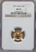 Modern Bullion Coins, 1991 G$5 Tenth-Ounce Gold Eagle MS70 NGC....