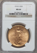 Saint-Gaudens Double Eagles, 1910-S $20 MS64 NGC....