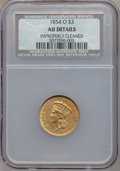 Three Dollar Gold Pieces, 1854-O $3 -- Improperly Cleaned -- NCS. AU Details. Variety 2....