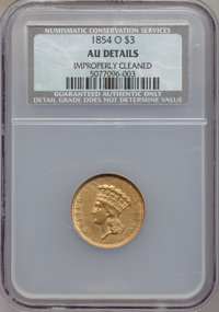 1854-O $3 -- Improperly Cleaned -- NCS. AU Details. Variety 2....(PCGS# 7971)