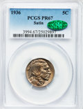 Proof Buffalo Nickels, 1936 5C Type One--Satin Finish PR67 PCGS. CAC....