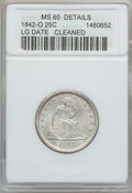 Seated Quarters: , 1842-O 25C Large Date -- Cleaned -- ANACS. MS60 Details. NGCCensus: (0/5). PCGS Population (1/23). Mintage: 769,000. Numis...