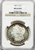 Morgan Dollars, 1881-O $1 MS64 Deep Mirror Prooflike NGC....