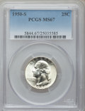 Washington Quarters: , 1950-S 25C MS67 PCGS. PCGS Population (68/0). NGC Census: (222/2).Mintage: 10,284,004. Numismedia Wsl. Price for problem f...