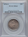 Seated Quarters: , 1876-S 25C MS61 PCGS. PCGS Population (11/206). NGC Census:(22/173). Mintage: 8,596,000. Numismedia Wsl. Price for problem...