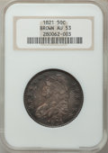 Bust Half Dollars: , 1821 50C AU53 NGC. NGC Census: (47/316). PCGS Population (60/262).Mintage: 1,305,797. Numismedia Wsl. Price for problem fr...