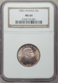 Coins of Hawaii: , 1883 25C Hawaii Quarter MS64 NGC. NGC Census: (214/279). PCGSPopulation (329/264). Mintage: 500,000. ...
