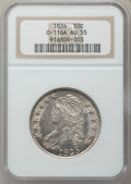 Bust Half Dollars, 1826 50C O-116A AU55 NGC. NGC Census: (190/787). PCGS Population(239/636). Mintage: 4,000,000. Numismedia Wsl. Price for p...