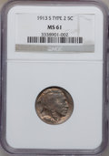 Buffalo Nickels: , 1913-S 5C Type Two MS61 NGC. NGC Census: (55/670). PCGS Population(15/984). Mintage: 1,209,000. Numismedia Wsl. Price for ...