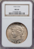 Peace Dollars: , 1925-S $1 MS64 NGC. NGC Census: (1621/63). PCGS Population(1765/39). Mintage: 1,610,000. Numismedia Wsl. Price for problem...