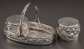 Silver Holloware, South American:Holloware, A PORTUGUESE SILVER SALT AND PEPPER SET . Maker unknown, Late 20thcentury. Marks: PORTUGAL. 2 inches high (5.1 cm) (bas...(Total: 3 )