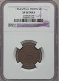 Two Cent Pieces: , 1864 2C Small Motto -- Corroded -- NGC Details. XF. NGC Census:(13/272). PCGS Population (20/237). Mintage: 19,847,500. Nu...