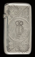 Silver Smalls:Match Safes, A WHITING SILVER MATCH SAFE . Frank M. Whiting Co., NorthAttleboro, Massachusetts, circa 1880. Marks: W (withinradiati...