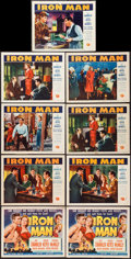 "Movie Posters:Sports, Iron Man (Universal International, 1951). Title Lobby Cards (2) and Lobby Cards (7) (11"" X 14""). Sports.. ... (Total: 9 Items)"