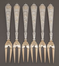 Silver Flatware, American:Gorham, A SET OF SIX GORHAM JAPANESE PATTERN SILVER AND SILVER GILTFRUIT FORKS . Gorham Manufacturing Co., Providence, ... (Total: 6 )